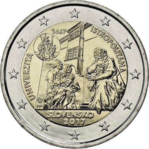 Slovakia 2 euro coin 2017 UNC anniversary of the University Istropolitana